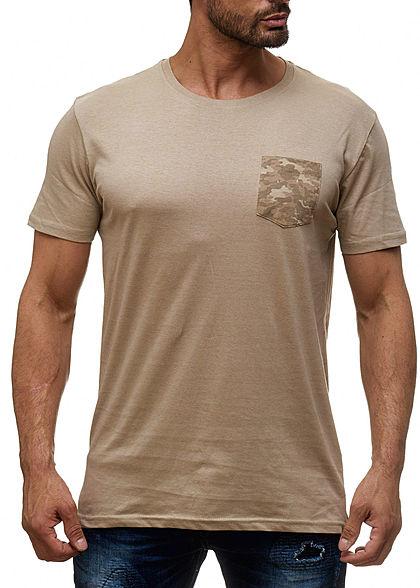 1e77953f121a0c Seventyseven Lifestyle Herren T-Shirt Longform Brusttasche mushroom beige  camouflage - 77onlineshop