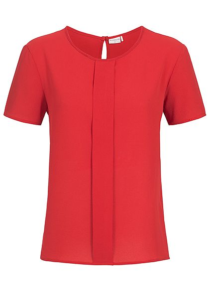 JDY by ONLY Damen Top lockerer Schnitt Falten Detail vorne scarlet sage rot