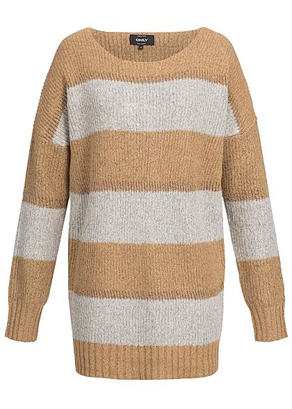 release date: e1447 5c2df ONLY Damen Pullover Oversize gestreift Glitzer indian tan braun grau bronze