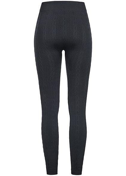 Seventyseven Lifestyle Damen Struktur Thermo Leggings schwarz