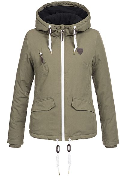 huge discount 20681 b2ac7 Seventyseven Lifestyle Damen Winter Jacke Kapuze 2Taschen gefüttert olive  grün weiss