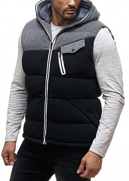 Seventyseven Lifestyle Herren Winter Weste Kapuze 3 Taschen 1 Zip Tasche schwarz grau