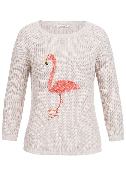 Hailys Damen Strick Pullover lockerer Schnitt Flamingo Patch beige rosa