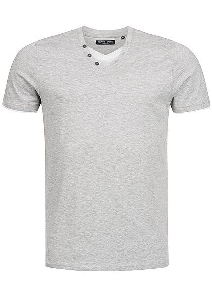 Seventyseven Lifestyle Herren T-Shirt 2in1 Opt 3Deko Knöpfe V-Ausschnitt  hell grau weiss - 77onlineshop