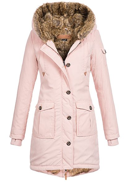 Eight2Nine Damen Winter Mantel Kapuze Kunstfellfutter Allover innen 4-Pockets blush rosa