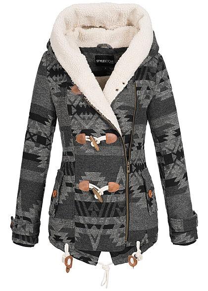 62db1dc2b34fb6 Seventyseven Lifestyle Damen Winter Jacke Kapuze 2 Taschen Kunstfellfutter  schwarz grau - 77onlineshop