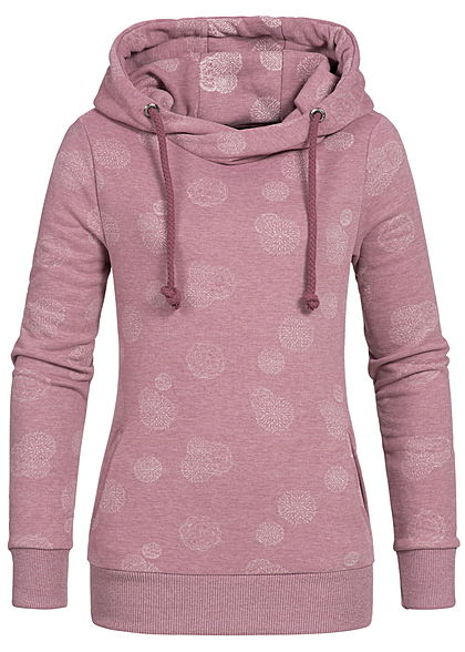 Eight2Nine Damen Hoodie Kapuze 2 Taschen Pusteblumen Muster by Sublevel dark berry rosa