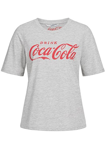 ONLY Damen T-Shirt Coca Cola Print medium grau rot
