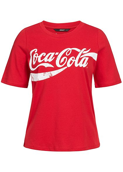 only damen t shirt coca cola print racing rot weiss. Black Bedroom Furniture Sets. Home Design Ideas