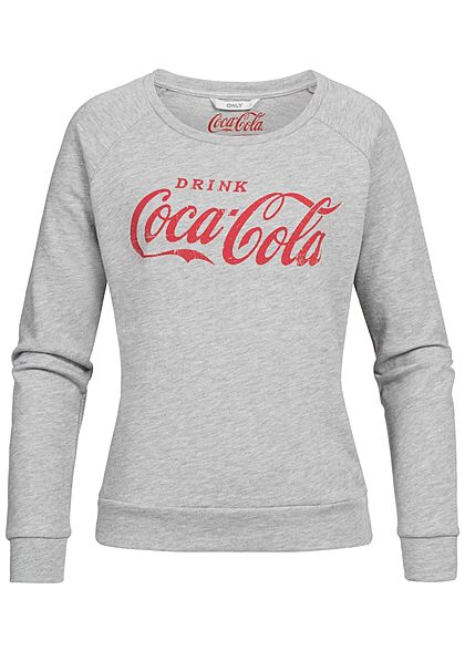 ONLY Damen Sweater Coca Cola Print med grau rot