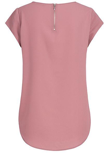 ONLY Damen Kurzarm Top Zipper hinten Struktur Muster NOOS mesa rose lila