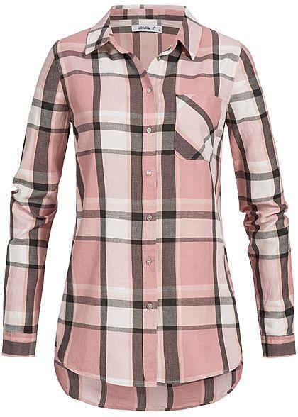 size 40 3be99 ea83b Seventyseven Lifestyle Damen Bluse Brusttasche Knopfleiste kariert rosa  weiss grau