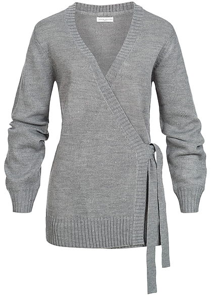 JDY by ONLY Damen Cardigan zum Binden Bindeband medium grau melange