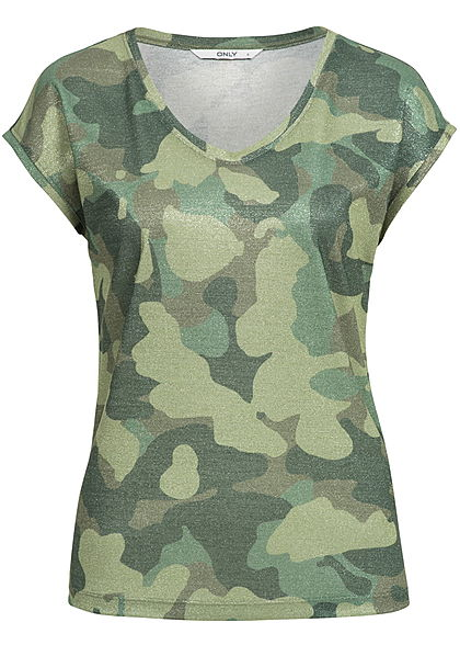 ONLY Damen T-Shirt Top Camouflage Print Glitzer Allover camouflage grün
