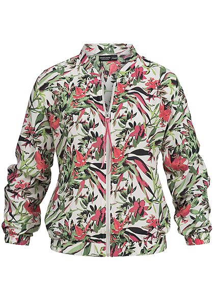 Eight2Nine Damen Zip Blouson Blumen Muster hell beige pink grün