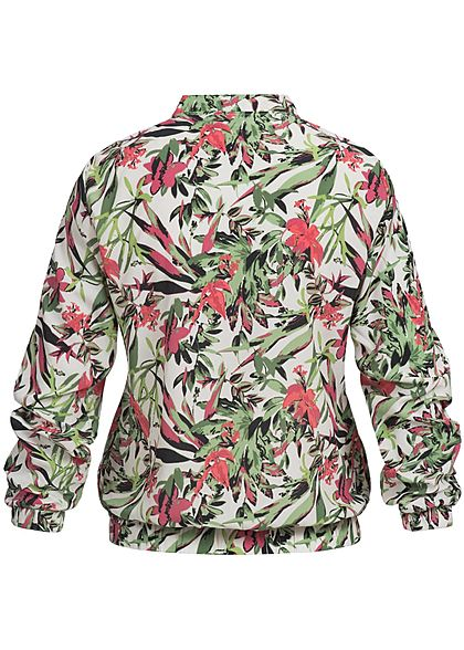 Eight2Nine Damen Zip Blouson Blumen Muster hell beige pink grün