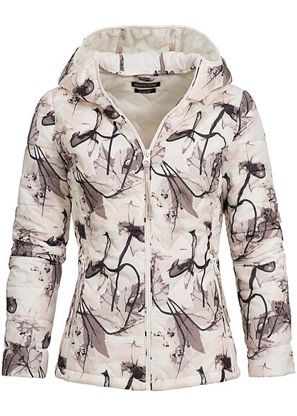 Eight2Nine Damen Übergangs Steppjacke Kapuze Florales Muster off weiss braun rosa