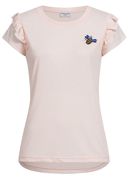 Eight2Nine Damen T-Shirt Bee Applikation vorn Volant Ärmel by Fresh Made rosa
