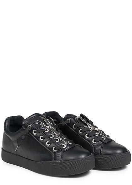 Seventyseven Lifestyle Schuh Damen Sneaker zum Binden Deko Zipper oben schwarz