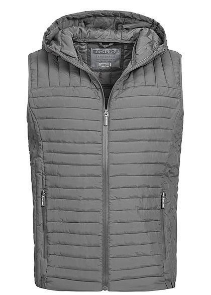 Eight2Nine  Men Hooded Light Padded Quilt Vest by Stitch and Soul grey