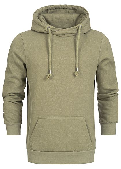 Eight2Nine  Men Overlapping Melange Hoodie by Sublevel olive melange