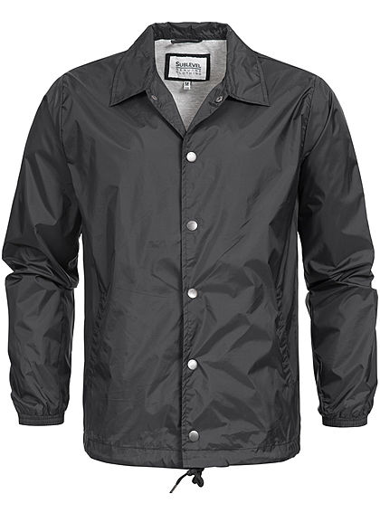 Eight2Nine  Men Button Down Windbreaker Jacket by Sublevel black