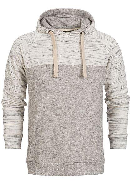 Eight2Nine Men 2-Tone Melange Raglan Hoodie by Sublevel grey