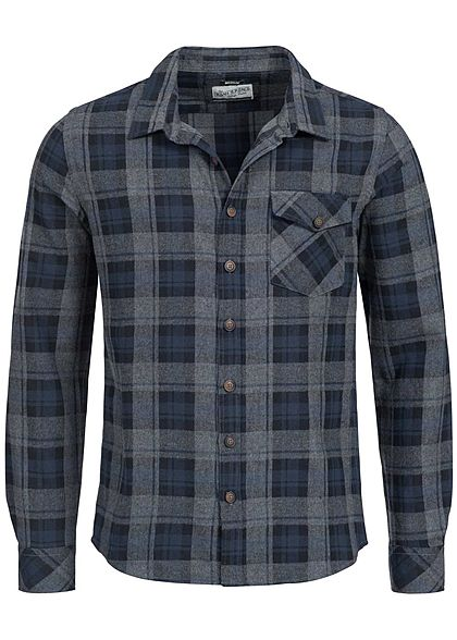 Eight2Nine Men Button Down Checked Flanell Shirt by Urban Surface blue grey