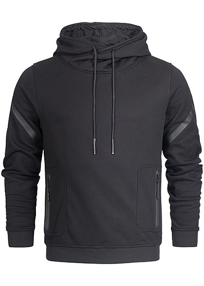 Seventyseven Lifestyle Men Overlapping High Neck Hoodie black