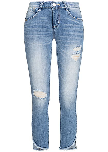 Hailys Damen 7/8 Jeans Hose 5-Pockets Destroy Look blau denim