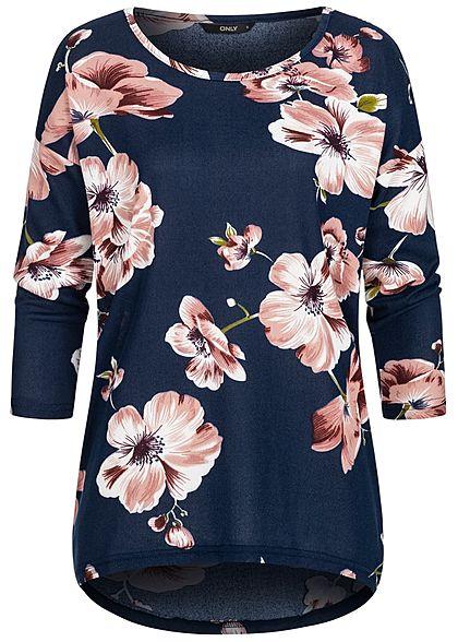 online store 47e9e 30100 ONLY Damen 4/5 Ärmel Sweater Blumen Muster NOOS Night Sky navy blau rosa
