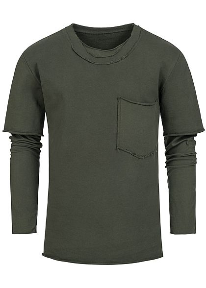 Seventyseven Lifestyle Men 2in1 Chest Pocket Boxer Crewneck olive green