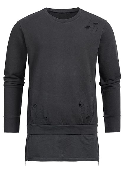 Seventyseven Lifestyle Men Open Edge Side Zip Long Crewneck Sweater black
