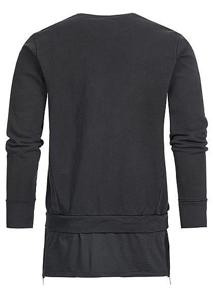 Seventyseven Lifestyle Men Open Edge Side Zip Long Crewneck Sweater black