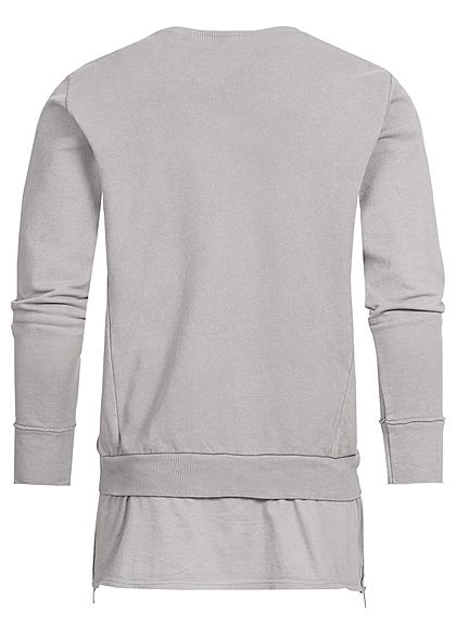 Seventyseven Lifestyle Men Open Edge Side Zip Long Crewneck Sweater beige grey