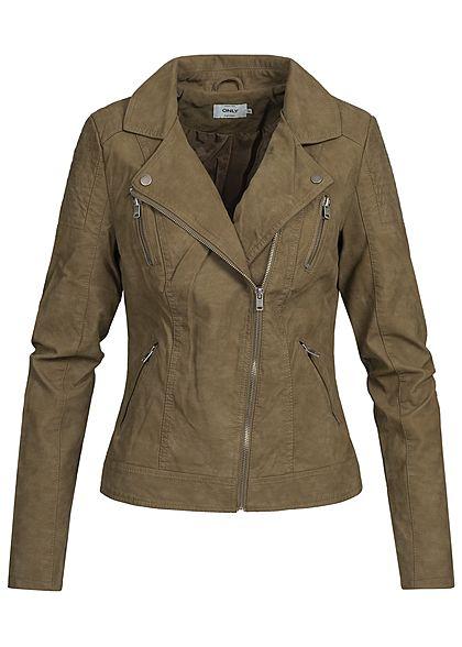 b923b3f2123d ONLY Damen Biker Kunstleder Jacke 2 Zip Taschen 2 Deko Zipper vorne  military olive - 77onlineshop