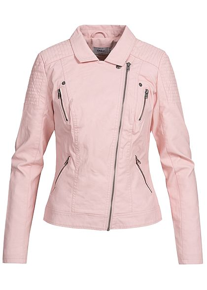 0dc1a677a2b4 ONLY Damen Biker Kunstleder Jacke 2 Zip Taschen 2 Deko Zipper vorne strawberry  rosa