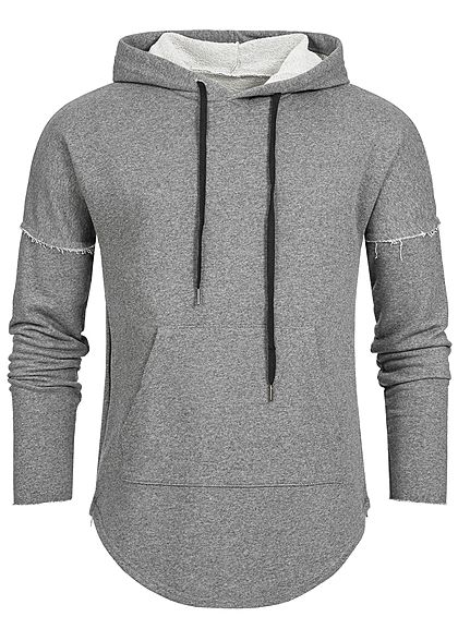 Seventyseven Lifestyle Men Side Zip Long Hoodie dark grey