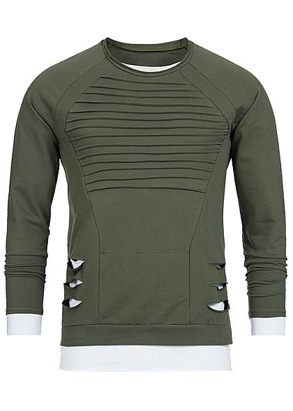 Seventyseven Lifestyle Men 2 in 1 Open Edge Crewneck Sweater olive green