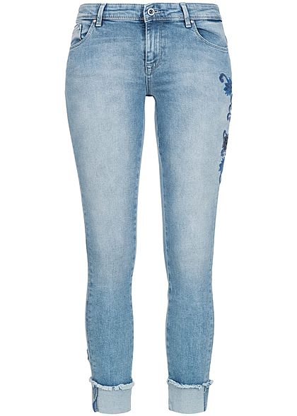 ONLY Damen Skinny Jeans Hose Blumen Patch 5-Pockets hell blau denim