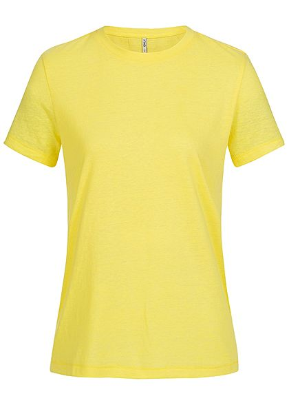 ONLY Damen Basic T-Shirt Rundhals golden kiwi gelb