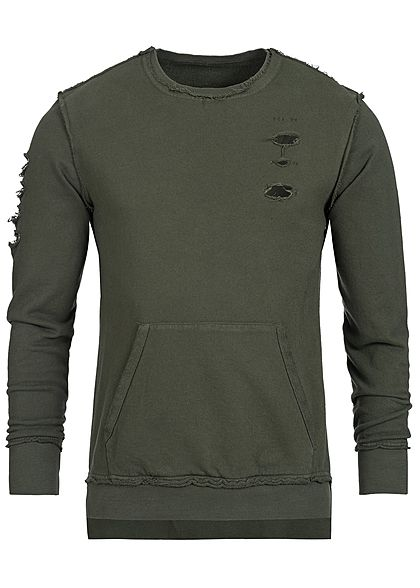 Seventyseven Lifestyle Men Destroyed Crewneck Sweater olive green