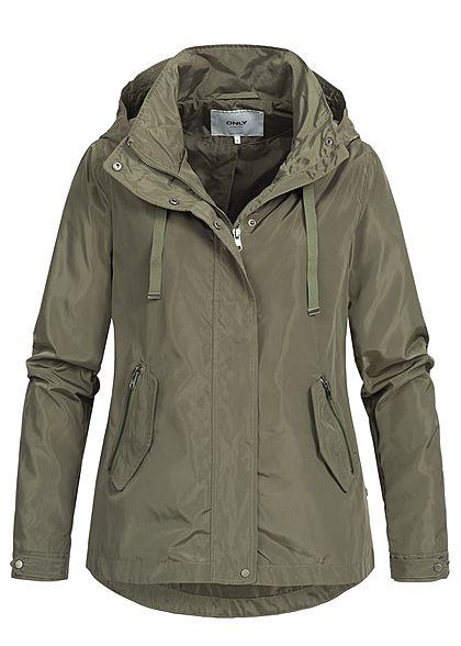 billiger Verkauf Wählen Sie für offizielle preiswert kaufen ONLY Damen Nylon Jacke Kapuze 2 Zip Taschen vorne kalamata grün