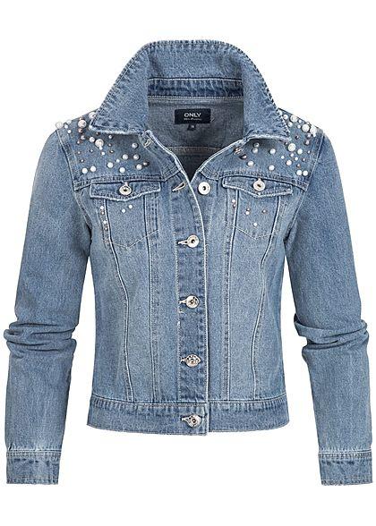 Only damen jeans jacke deko perlen 2 brusttaschen medium - Jeansjacke perlen ...