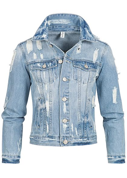 Seventyseven Lifestyle Damen Jeans Jacke Heavy Destroy Look hell blau denim