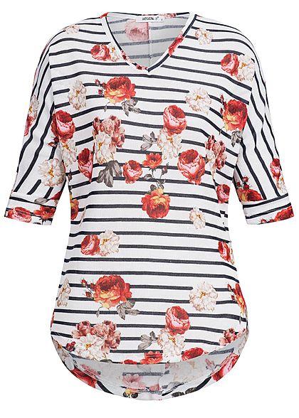 Seventyseven Lifestyle Damen Shirt 3 4 Ärmel Feinstrick Blumen Muster weiss  blau rot - 77onlineshop 74cdcbf084