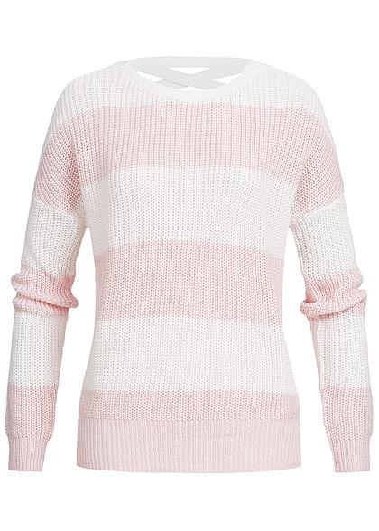 ONLY Damen Grobstrick Pullover Schnürdetail am Rücken Streifen Muster weiss  rosa - 77onlineshop 14d5fc525d
