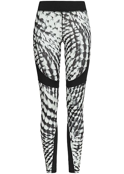ONLY PLAY Damen Trainings Tights Leggings mit Print schwarz weiss