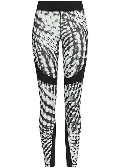 518bf1980eb376 ONLY PLAY Damen Trainings Tights Leggings mit Print schwarz weiss -  77onlineshop