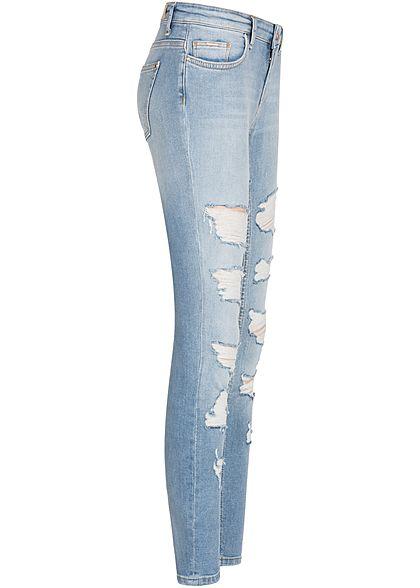 ONLY Damen Ankle Skinny Jeans Hose Heavy Destroy Look 5-Pockets medium blau den